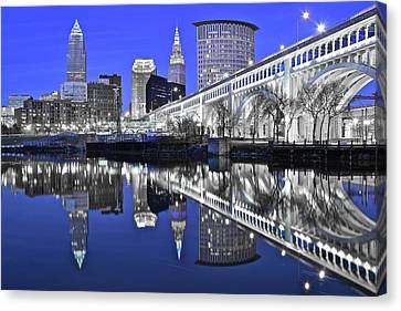Silver And Blue  Canvas Print by Frozen in Time Fine Art Photography