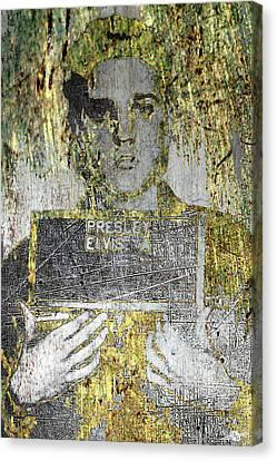 Silver And Gold Elvis Presley Mug Shot Canvas Print