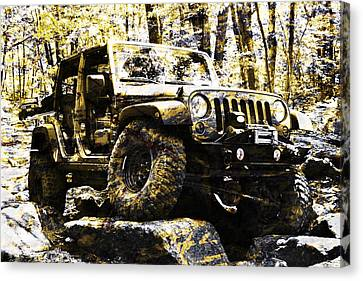 Silver And Gold Jeep Wrangler Jku Canvas Print