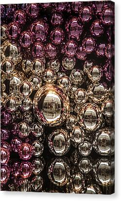 Decorated For Christmas Canvas Print - Silver And Purple Christmas Balls by Jenny Rainbow