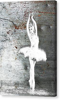 Silver Ballet Dancer Extended Canvas Print
