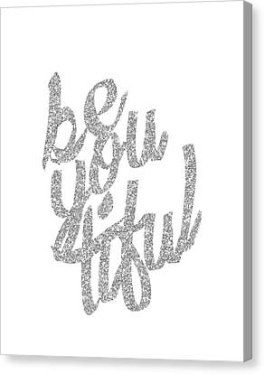 Silver 'beyoutiful' Typographic Poster Canvas Print by Jaime Friedman