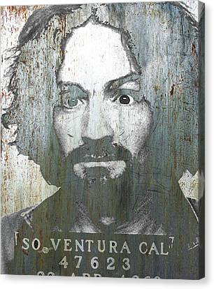 Silver Charles Manson Mug Shot 1969 Vertical  Canvas Print