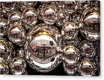 Decorated For Christmas Canvas Print - Silver Christmas Balls by Jenny Rainbow