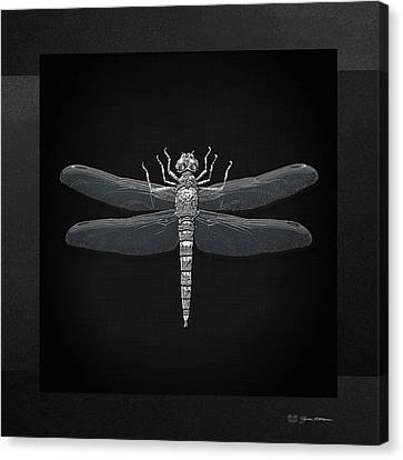 Canvas Print featuring the digital art Silver Dragonfly On Black Canvas by Serge Averbukh