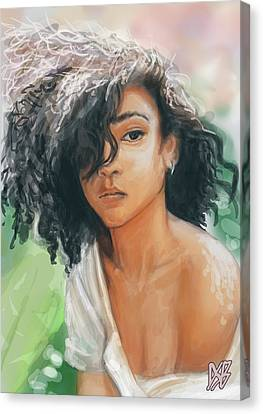 Silver Earring Canvas Print by Simon Cardew