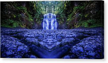 Silver Falls - Upper North Falls Reflection 2 Canvas Print by Pelo Blanco Photo