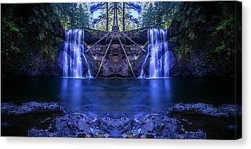 Silver Falls - Upper North Falls Reflection Canvas Print by Pelo Blanco Photo