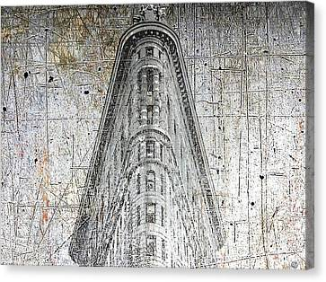 Silver Flatiron Building Canvas Print by Tony Rubino