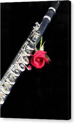 Silver Flute Red Rose Canvas Print by M K  Miller