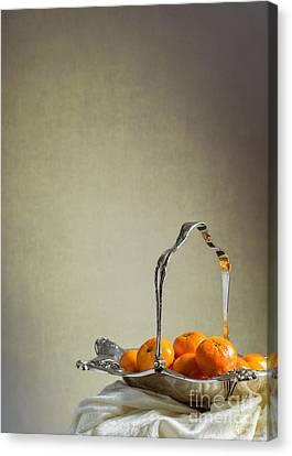 Silver-filled Canvas Print - Silver Fruit Basket by Amanda Elwell