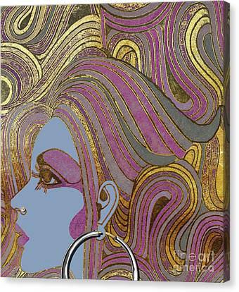 Silver Hoop Retro Fashion Girl Canvas Print by Mindy Sommers