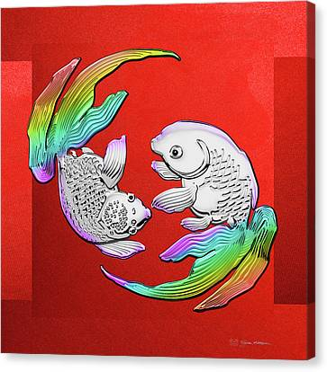 Silver Japanese Koi Goldfish Over Red Canvas Canvas Print