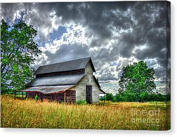 Silver Lining Stormy Day Clouds Historic Barn Art Canvas Print