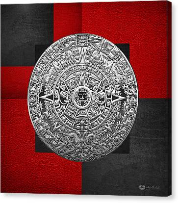 Mayan Mythology Canvas Print - Silver Mayan-aztec Calendar On Black And Red Leather by Serge Averbukh