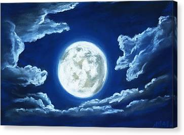 Silver Moon - Sky And Clouds Collection Canvas Print by Anastasiya Malakhova