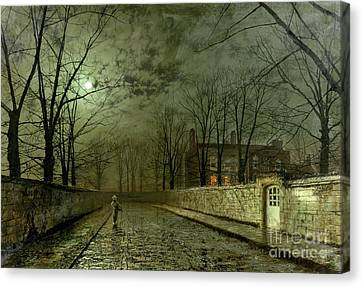 Street Canvas Print - Silver Moonlight by John Atkinson Grimshaw
