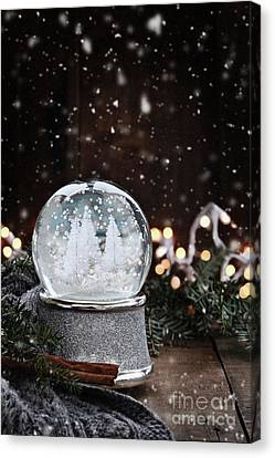Canvas Print featuring the photograph Silver Snow Globe by Stephanie Frey