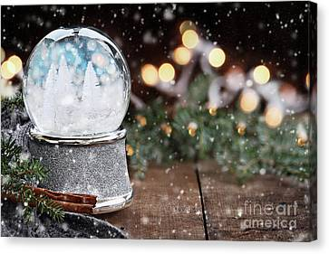 Canvas Print featuring the photograph Silver Snow Globe With White Christmas Trees by Stephanie Frey
