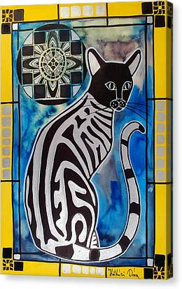 Canvas Print featuring the painting Silver Tabby With Mandala - Cat Art By Dora Hathazi Mendes by Dora Hathazi Mendes