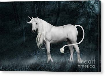 Silver Unicorn Standing In Miisty Forest Canvas Print