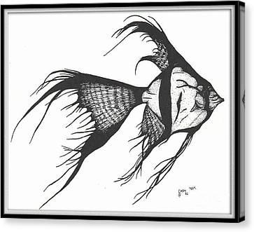 Silver Veiltail Angelfish Fish Art Canvas Print by Cathy Peek