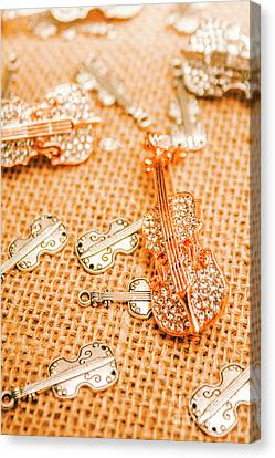Silver Violin Pendant With Diamonds Canvas Print by Jorgo Photography - Wall Art Gallery
