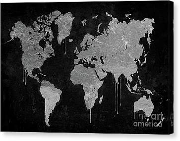 Silver World Map Canvas Print by Mindy Sommers
