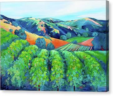 Silverado Trail Vineyard Canvas Print by Stephanie  Maclean