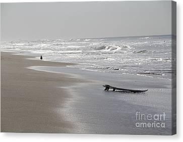 Canvas Print - Silvery Morning Huntington Beach by Linda Queally