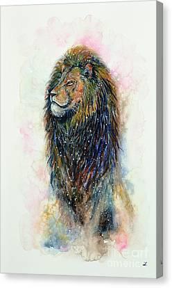 Canvas Print featuring the painting Simba by Zaira Dzhaubaeva