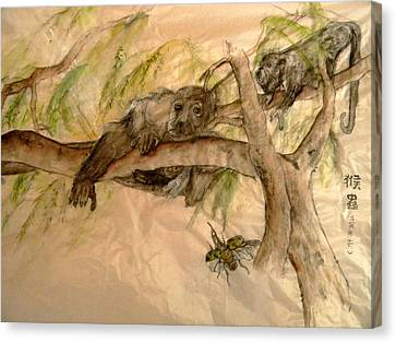 Canvas Print featuring the painting Simian And Beetle by Debbi Saccomanno Chan