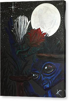 Canvas Print featuring the painting Similar Alien Appreciates Flowers By The Light Of The Full Moon. by Similar Alien
