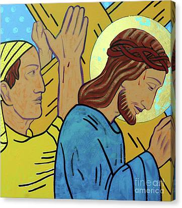 The Wooden Cross Canvas Print - Simon Helps Jesus by Sara Hayward