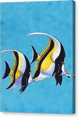 Simple Fish - Moorish Idols Canvas Print by Patty Vicknair