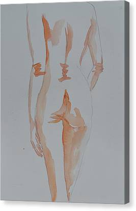 Canvas Print featuring the painting Simple Nude by Beverley Harper Tinsley