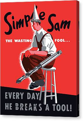 Simple Sam The Wasting Fool Canvas Print by War Is Hell Store