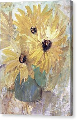 Canvas Print featuring the painting Simply Sunflowers  by Robin Maria Pedrero