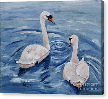 Simply Swans Canvas Print by Brenda Thour
