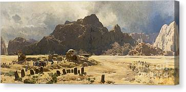 Sinai Landscape With The Mountain Jebel El-deir Canvas Print