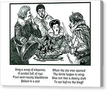Canvas Print featuring the painting Sing A Song Of Sixpence Nursery Rhyme by Marian Cates