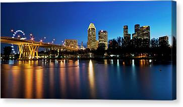Canvas Print featuring the photograph Singapore - Blue Hour by Ng Hock How