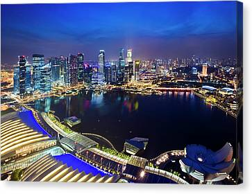 Canvas Print featuring the photograph Singapore - View From Marina Bay Sands by Ng Hock How