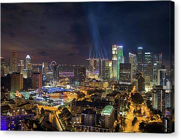 Singapore City Lights Canvas Print by David Gn