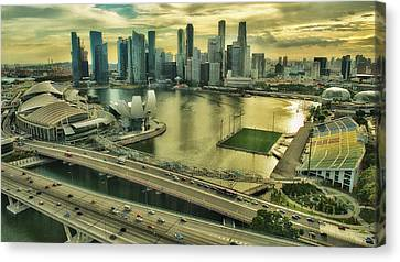 Singapore City On The Move Canvas Print by Paul W Sharpe Aka Wizard of Wonders