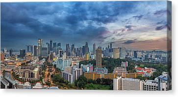 Singapore Cityscape At Sunset Canvas Print by David Gn