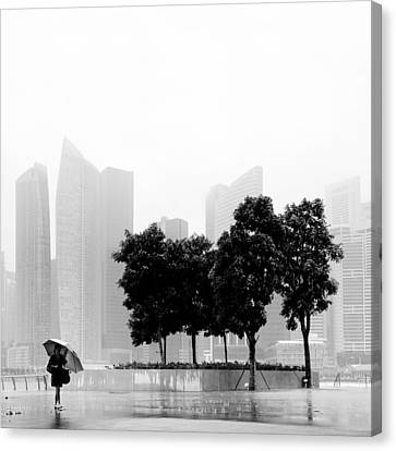 Singapore Umbrella Canvas Print by Nina Papiorek