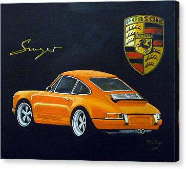 Canvas Print featuring the painting Singer Porsche by Richard Le Page
