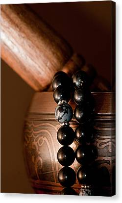 Singing Bowl And Mala In Color Canvas Print by Edward Myers