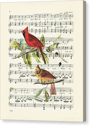 Singing Cardinals Canvas Print by Delphimages Photo Creations